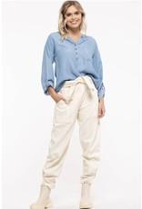 Blu Pepper Blu Pepper, Front Key Hole Kimono Shirt, Back Button, Chambray