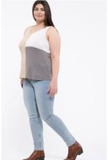Blu Pepper Blu Pepper, Colorblock Sweater Tank, Taupe Multi