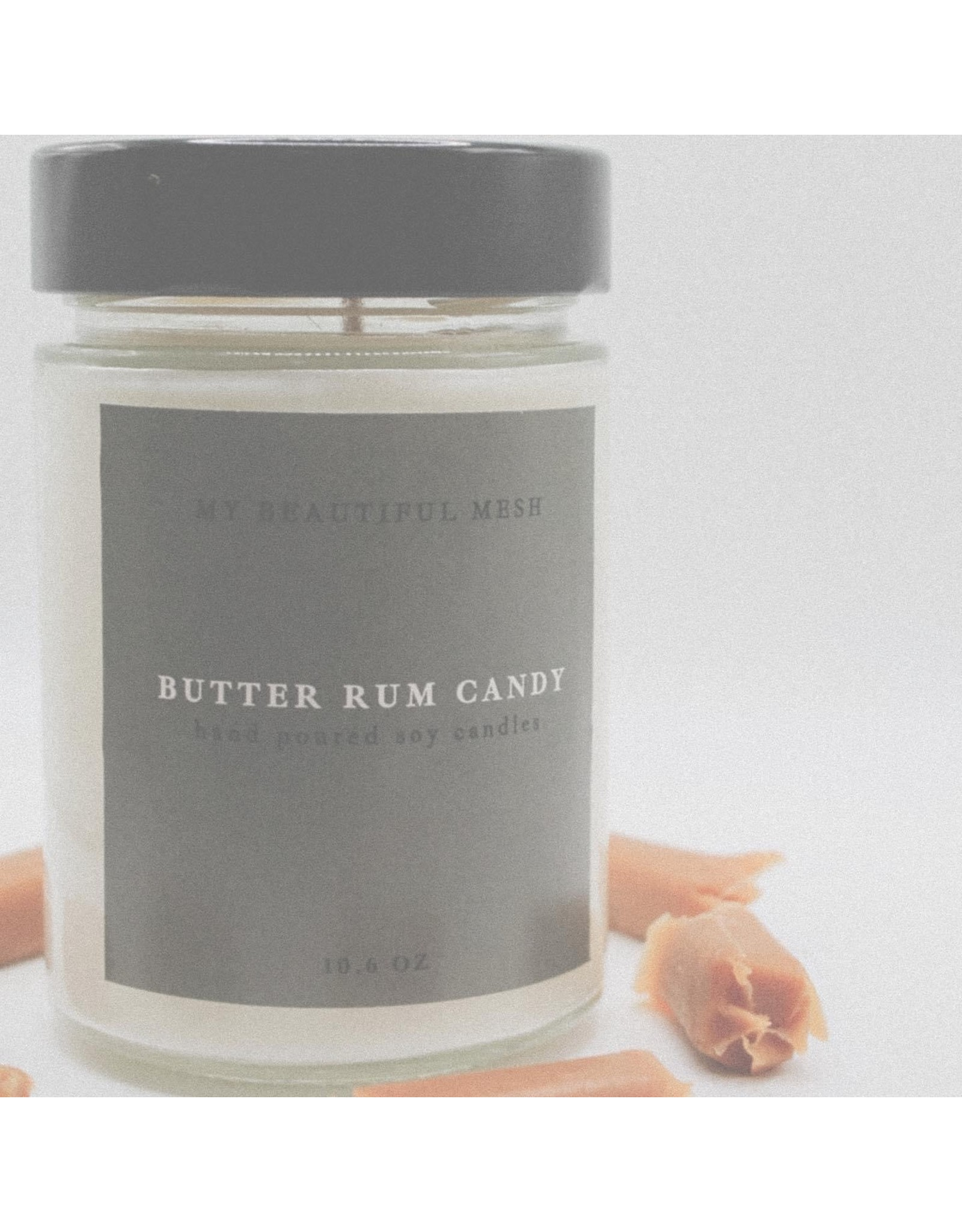 My Beautiful Mesh Butter Rum Candy Candle, 10.6oz
