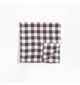 """Petit Lem Lange blanc cassé en mousseline à imprimé """"Vichy"""" gris charbon"""