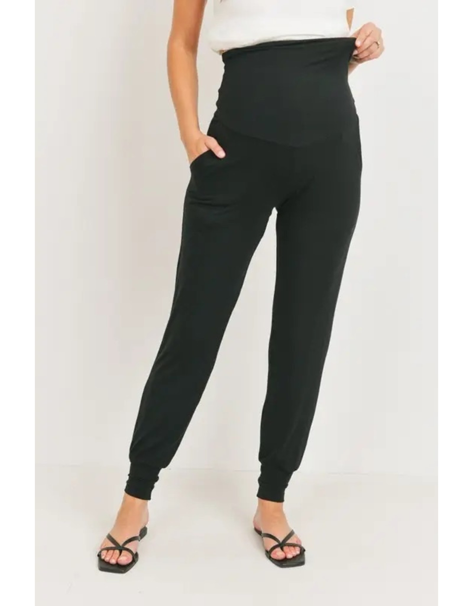 Ashley Nicole, Maternity Waistband Jogger Pant With Pockets, Black