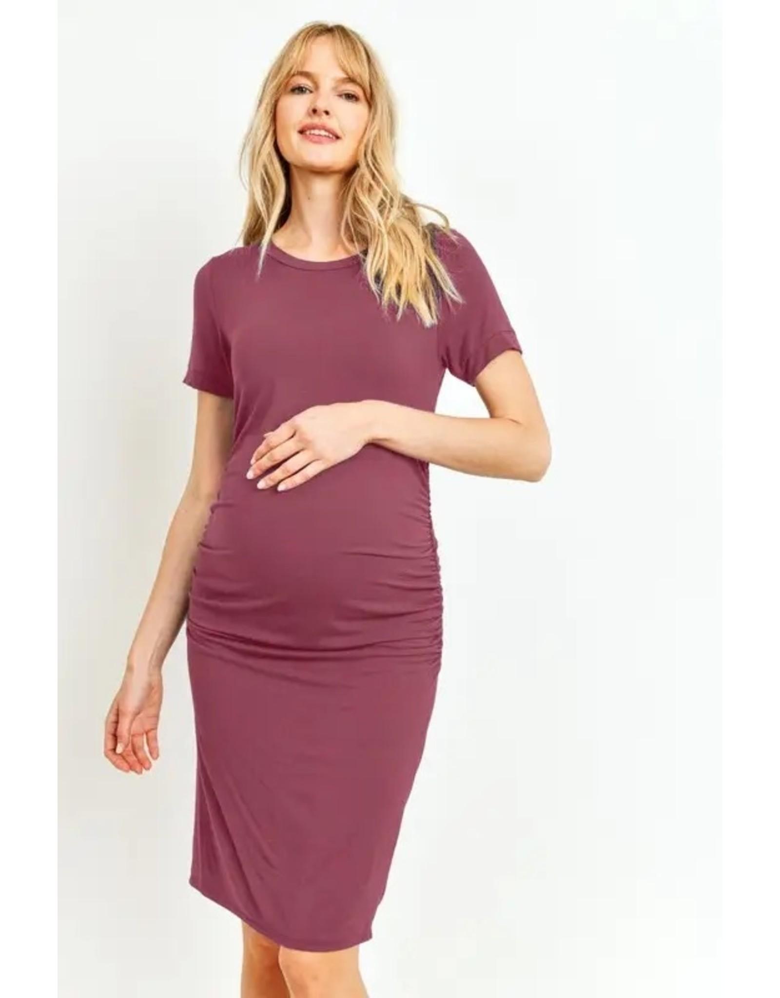 Ashley Nicole, Heavy Modal Basic Maternity Dress, Berry