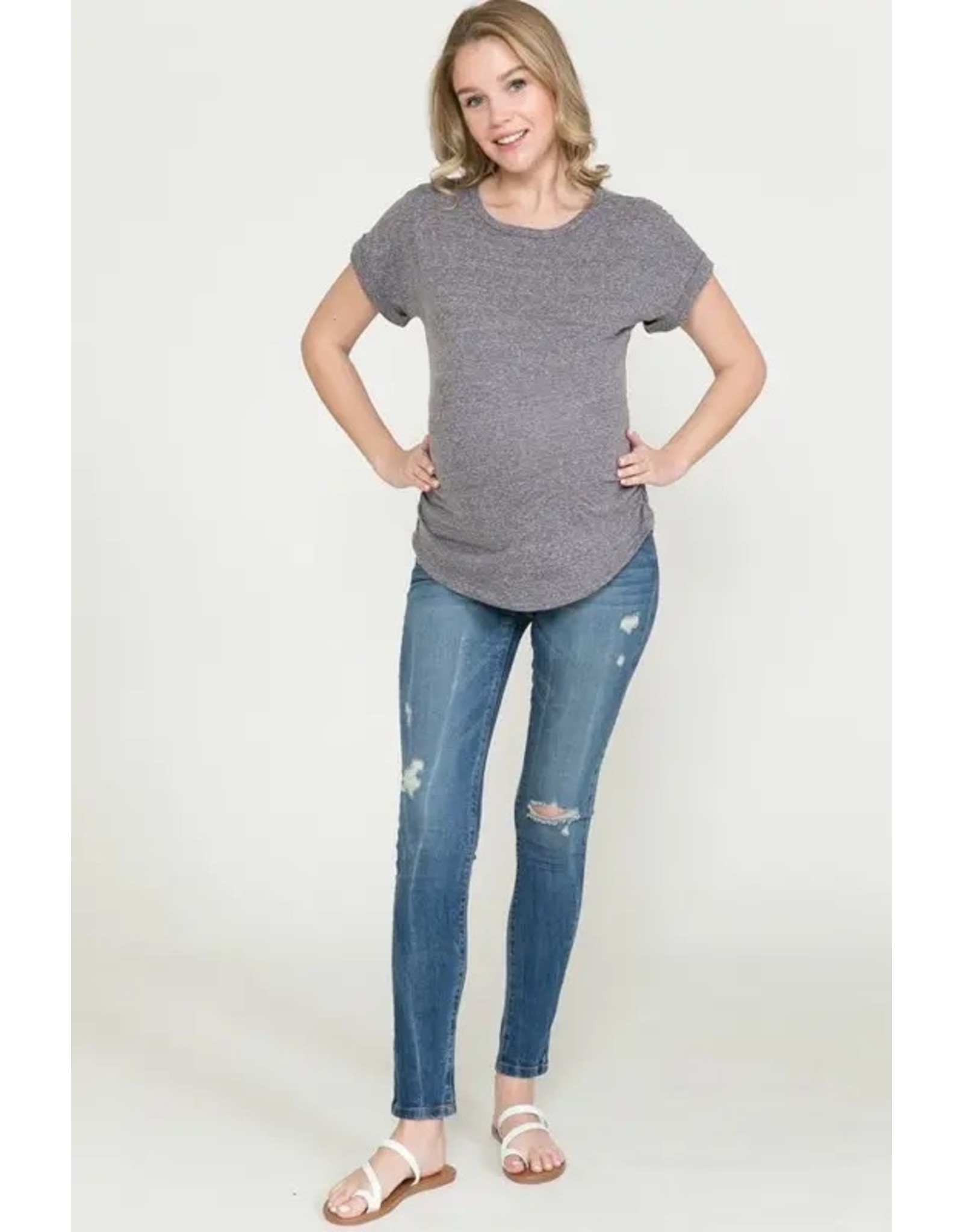 Ashley Nicole, Dolman Sleeve Side Ruched Basic Maternity Top, Charcoal