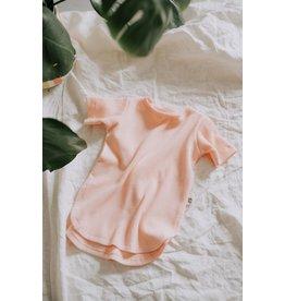 Little Yogi Little Yogi, T-Shirt Gaufré, Manches Courte, Rose Peachy