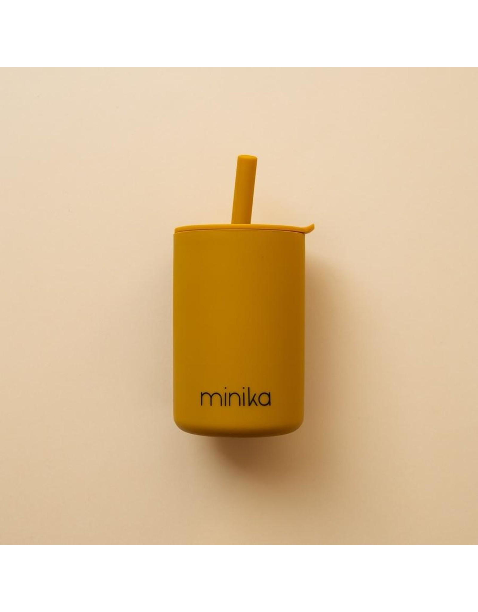 Minika Minika Verre Avec Paille et Couvercle Ocre