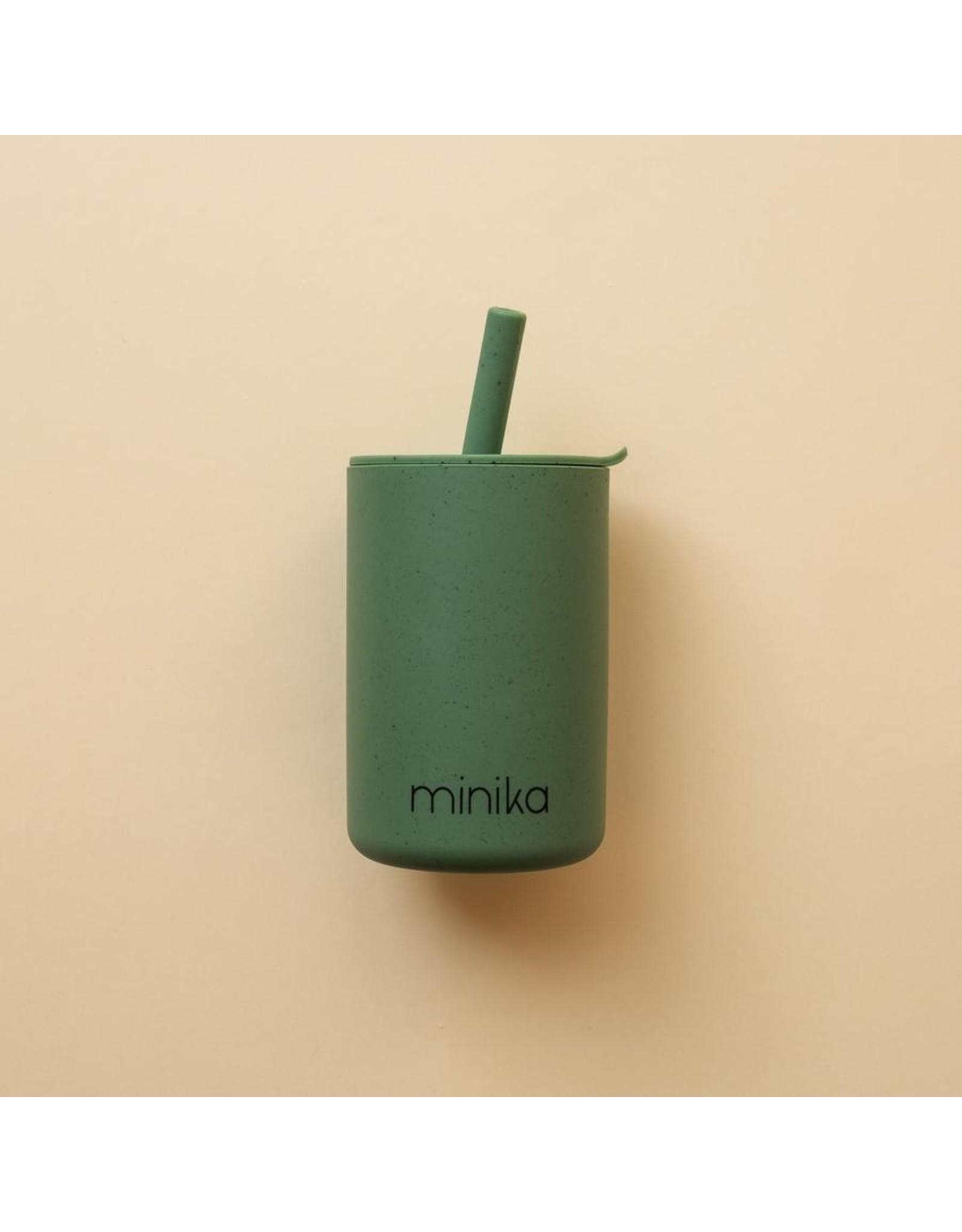Minika Minika Verre Avec Paille et Couvercle Leaf
