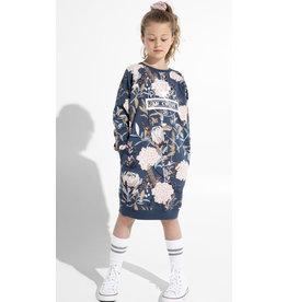 Original Au Coton Robe En Jersey Extensible, Fleurs Indigo