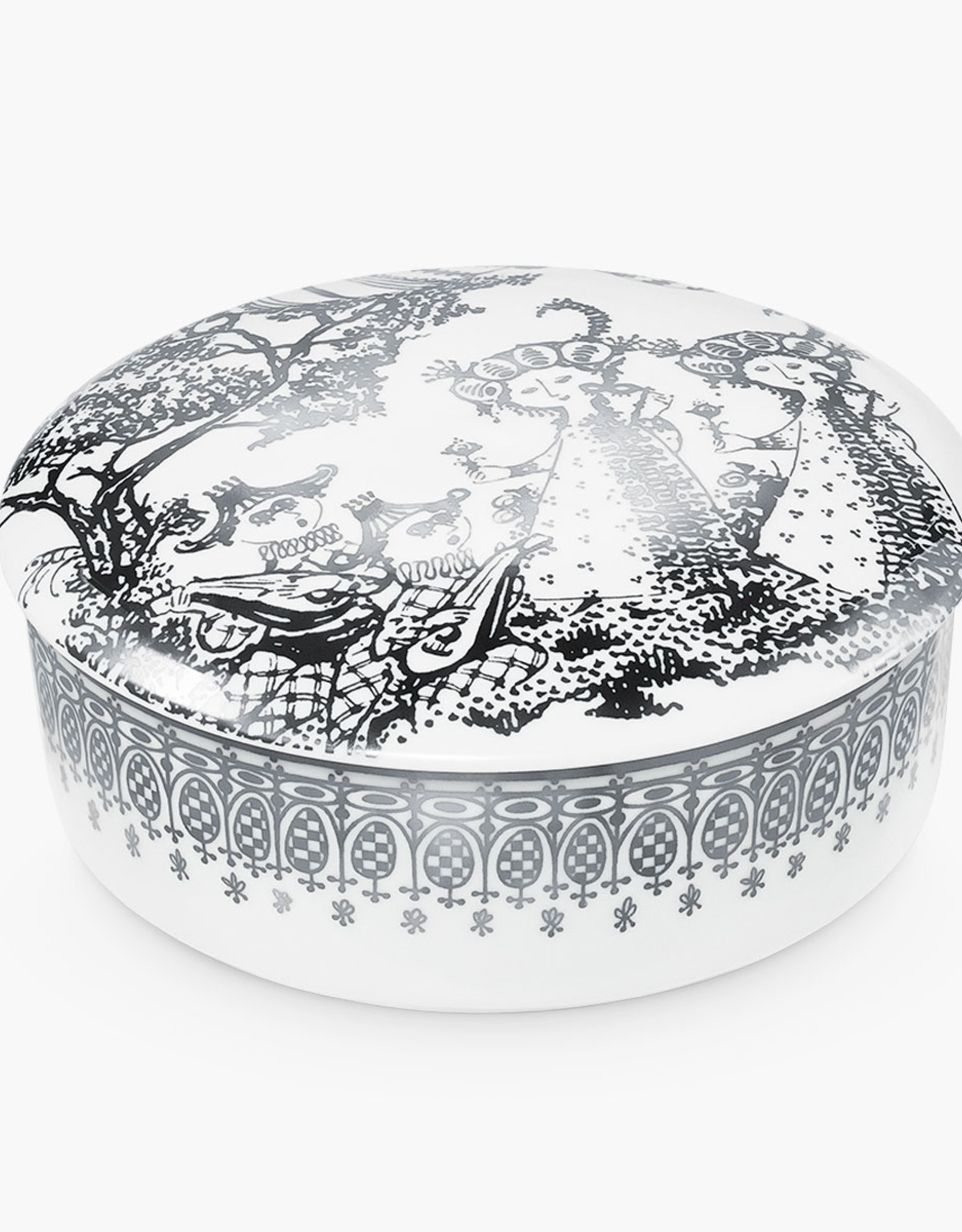 Bonbonniere Mascarade jar by Bjorn Wiinblad | Porcelain | Silver | 160mm