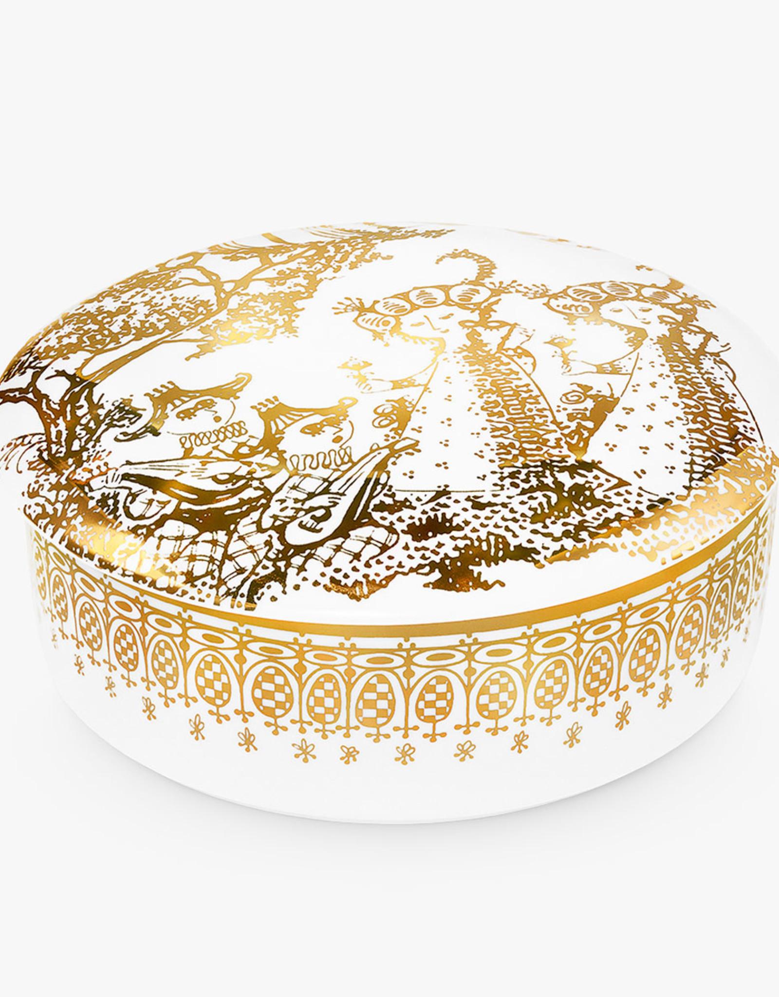 Bonbonniere Mascarade jar by Bjorn Wiinblad | Porcelain | Gold | 160mm