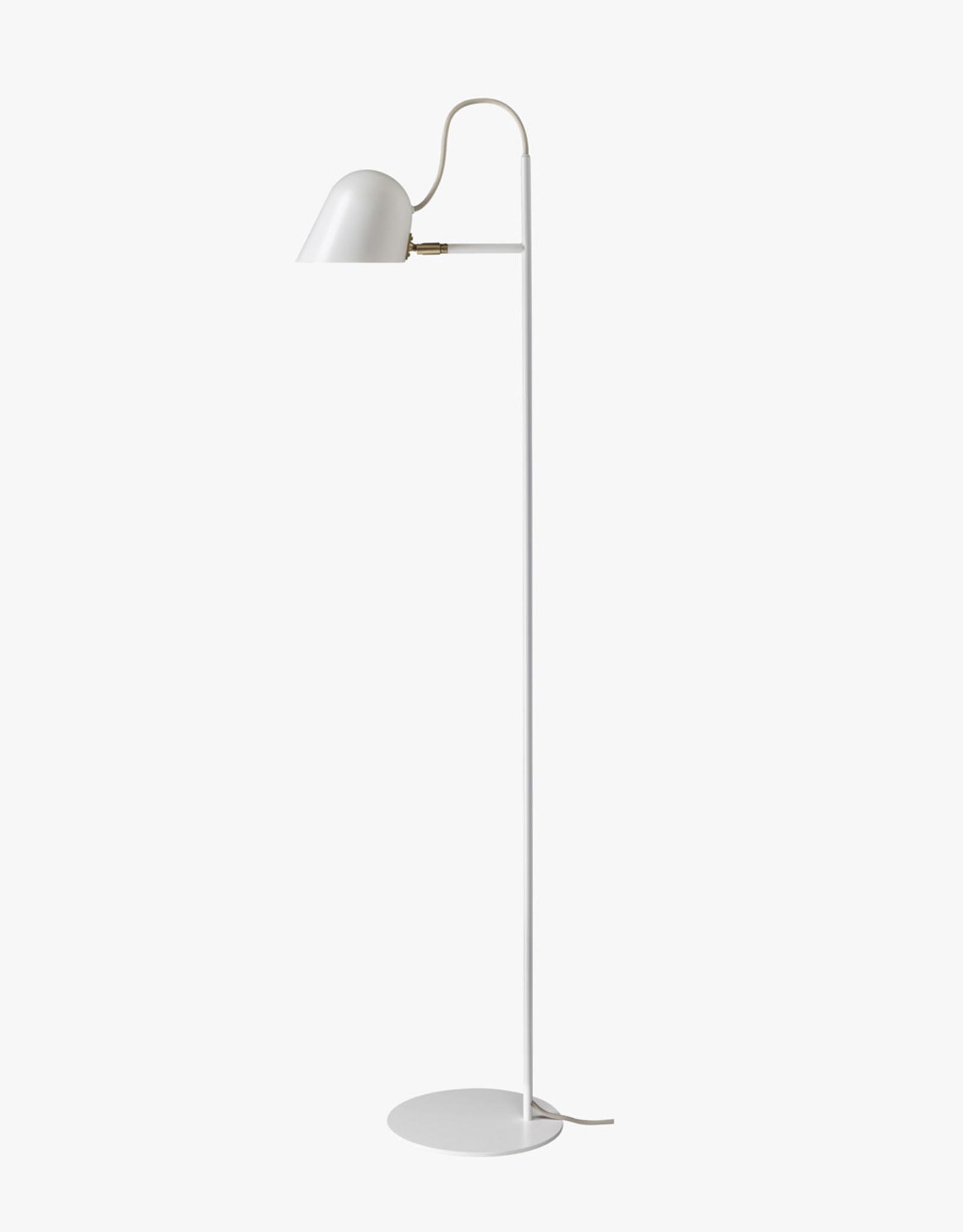 Streck floor light by Joel Karlsson   White/brass   W36.5cm x H135.5cm   Integrated 6W LED