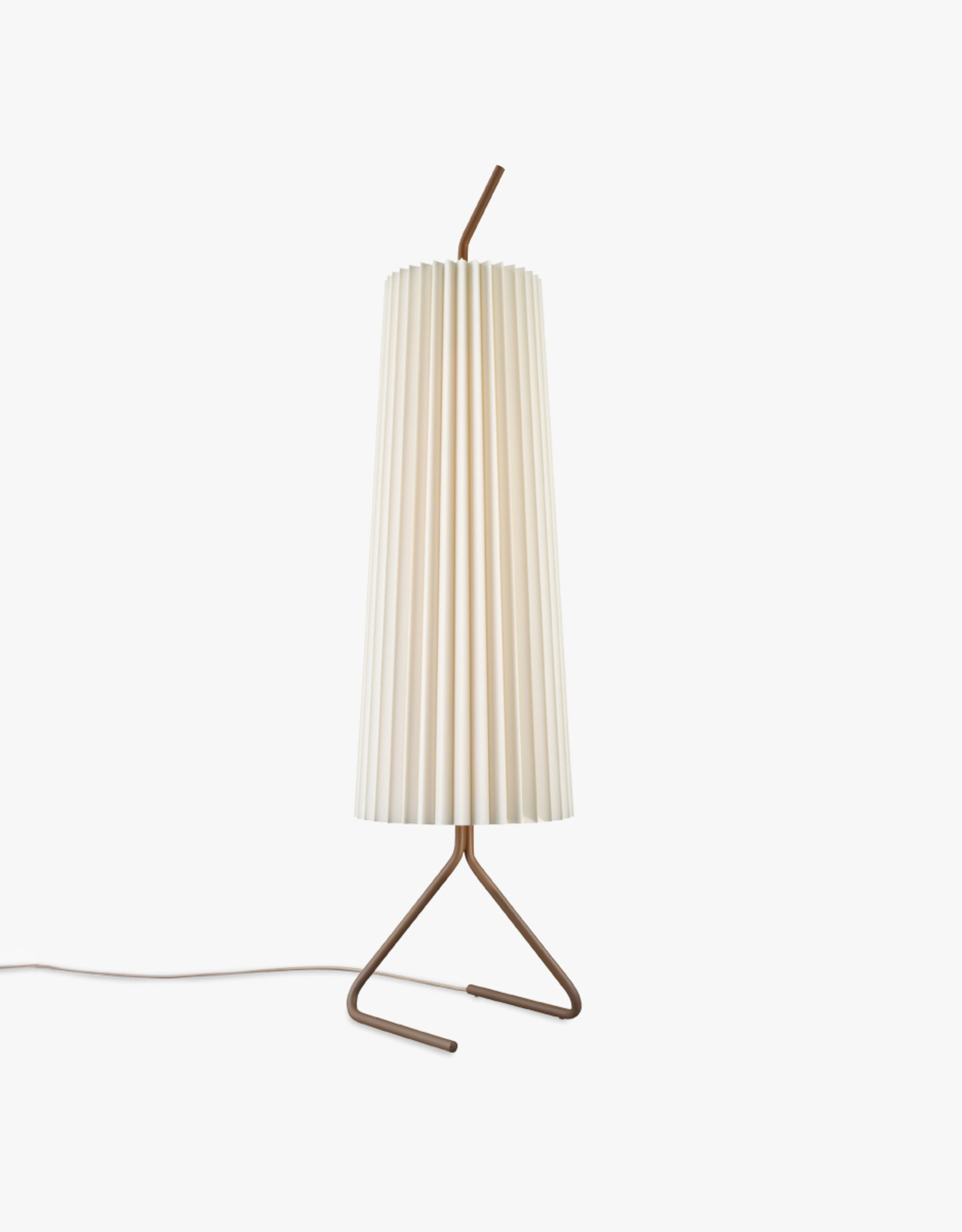 Fliegenbein SL floor light by J.T. Kalmar | Brown metal stand | Silk pleated shade | Wheat cord | W24cm x Dia29.5cm x H115cm | 4x E14 40W bulb required