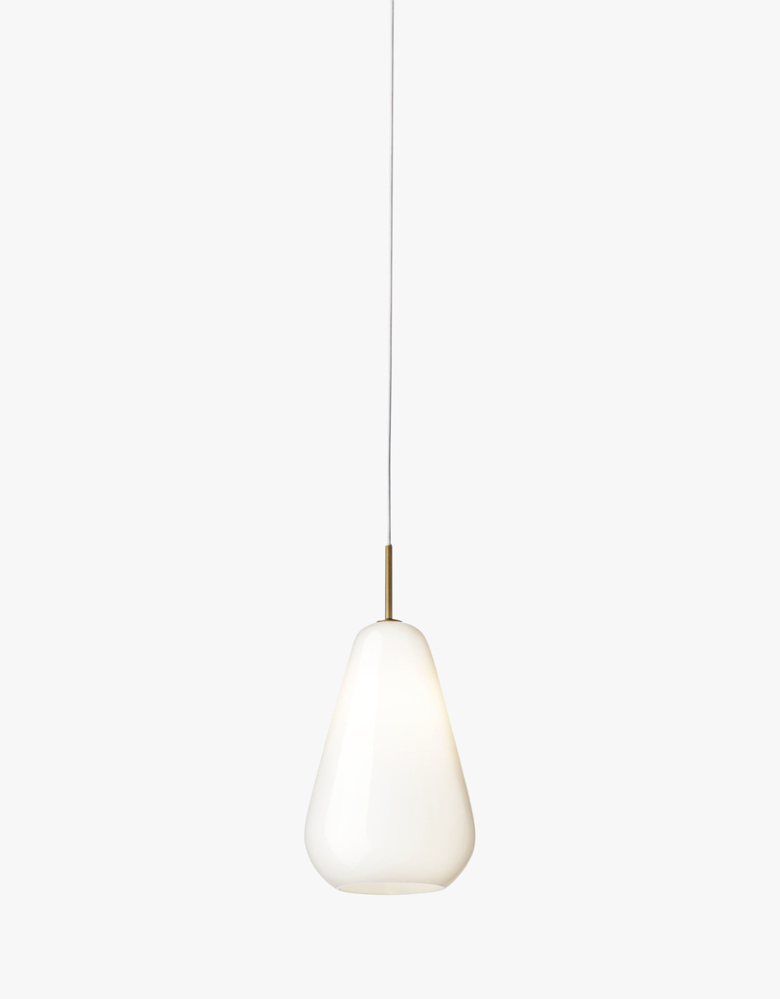 Nuura Anoli 1 pendant by Sofie Refer | M | Nordic gold/opal white | Cable L250cm | Ceiling plate Dia10cm | Dia19cm x H38.5cm | 1x G9 illumination LED 5.6W bulb required