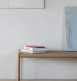 Moller 63 bench by N.O. Moller | Natural cord | Soaped oak frame | L150cm x W40cm x H46cm