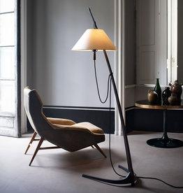 Dornstab floor light by J.T. Kalmar & A. Pöll   L   Oak stand   Black bronze foot   Silk shade   Wheat cord   Dia52cm x H183cm   1x E27 60W bulb required