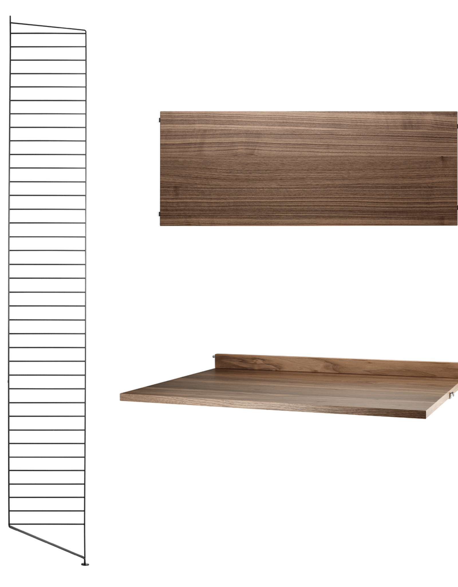String String | Desk Bundle | Walnut shelves/Black frame