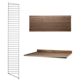 String String | Desk Bundle | Walnut shelves/Black frame