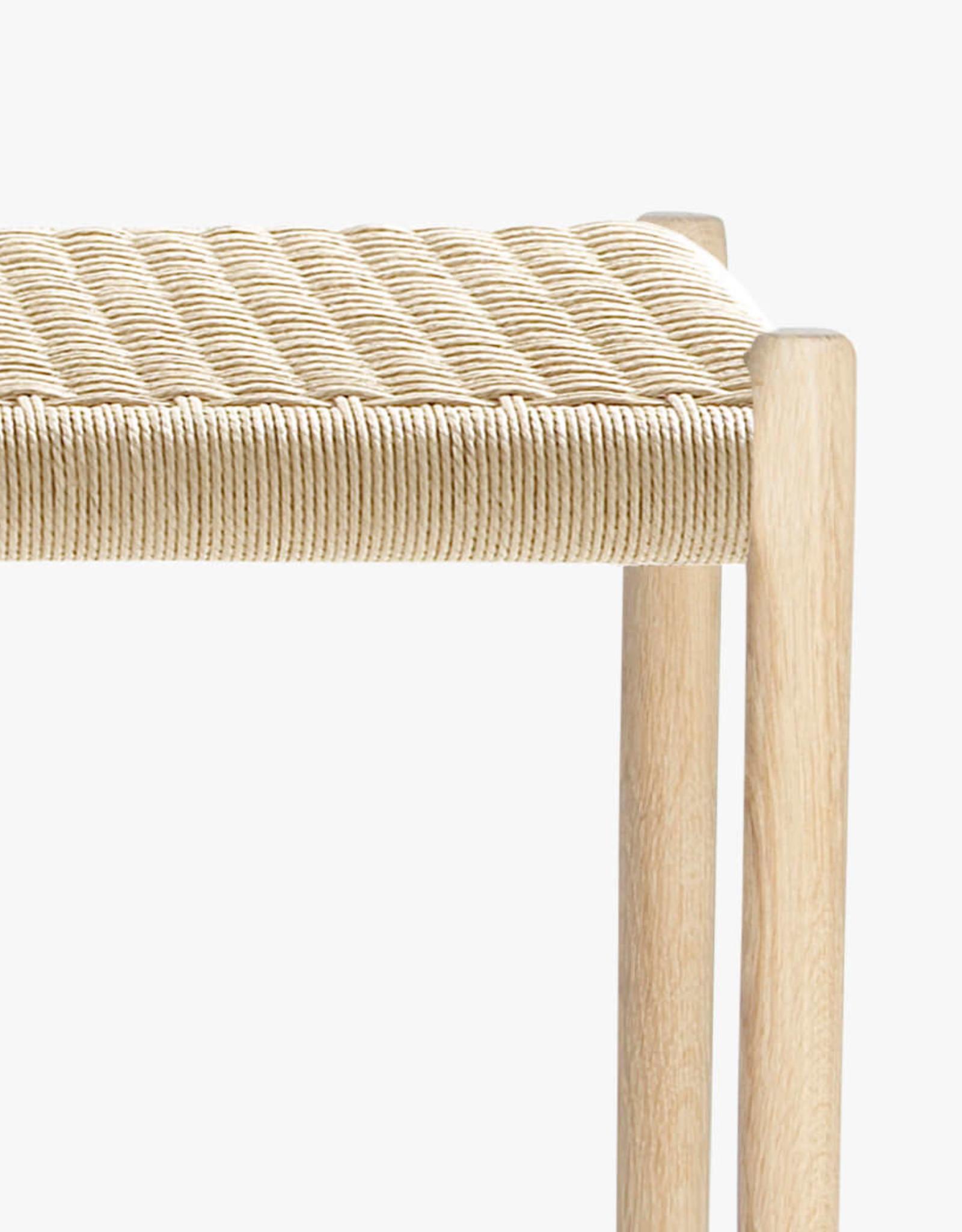 Moller 63 bench by N.O. Moller | Natural cord | Soaped oak frame | L1500cm