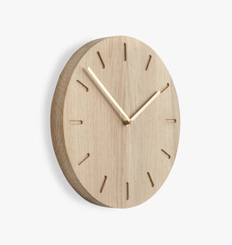 Watch:Out wall clock | Brass hands | Oak