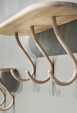 Kapten 3 by Mia Cullin | 3 Hooks | Shelf | White stain beech | W64.5cm x D24.5cm x H29cm