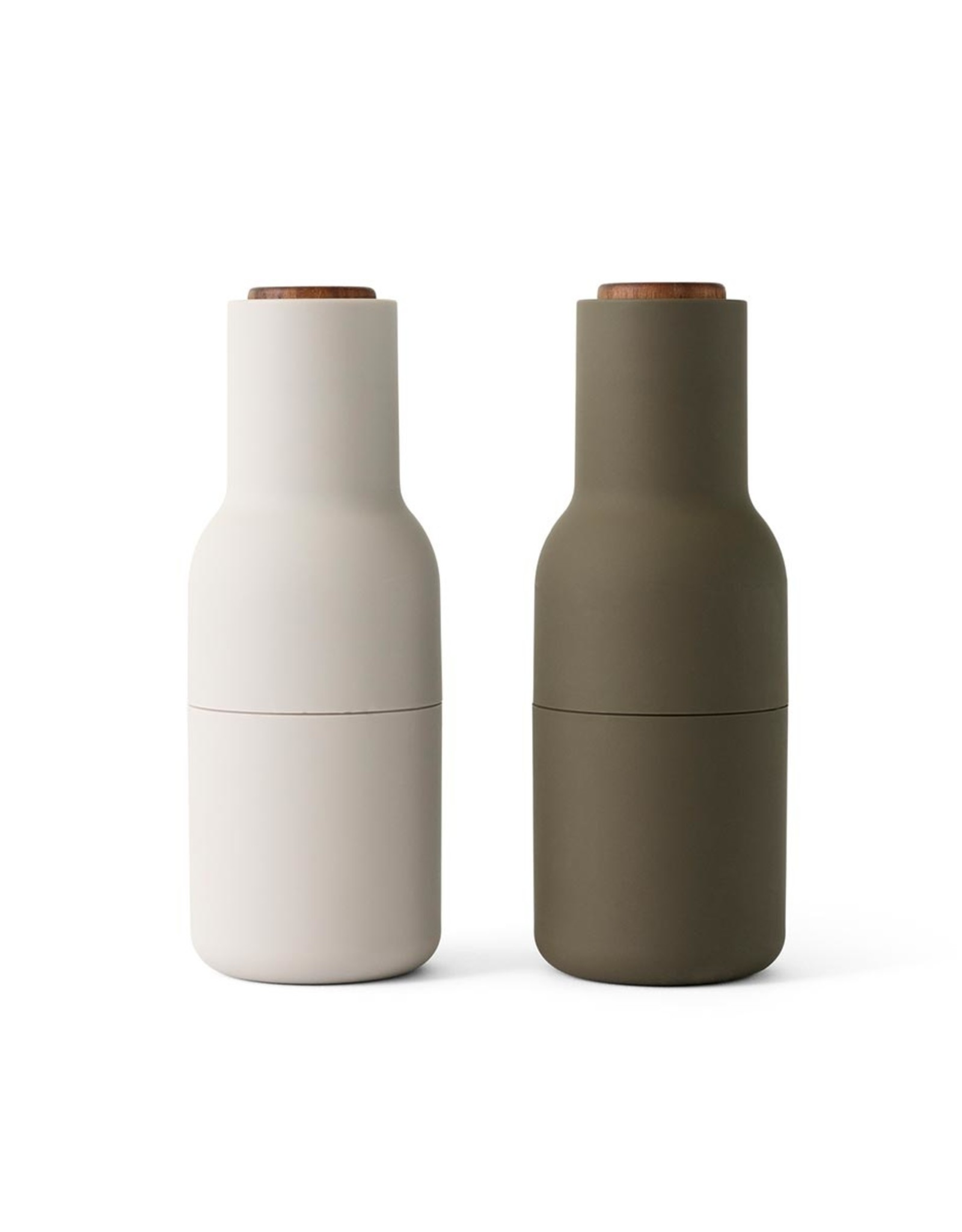 Bottle Grinders set by Norm Architects | Hunting green/beige | Walnut lid