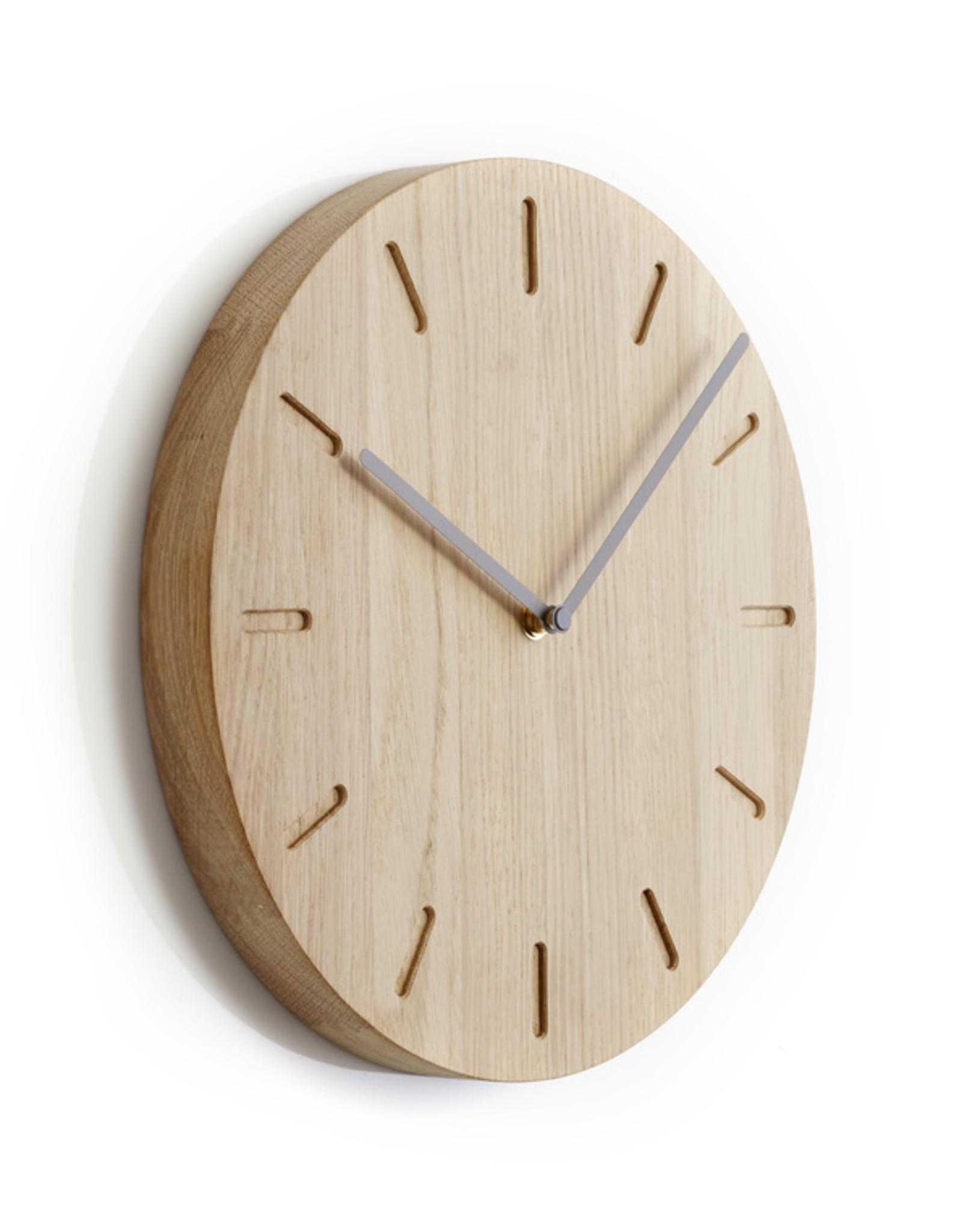 Watch:Out wall clock | Grey  hands | Oak