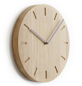 Watch:Out wall clock | Grey  hands | Oak