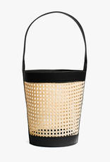 Rattan Bucket Bag by Palmgrens   Black leather   Opening Dia25cm x H58cm including handle
