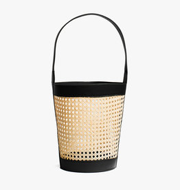 Rattan Bucket Bag by Palmgrens | Black leather