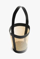 Rattan Bucket Bag by Palmgrens | Black leather | Opening Dia25cm x H58cm including handle