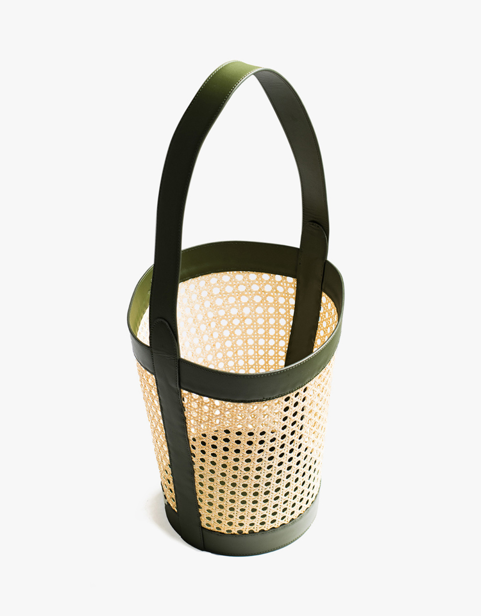 Rattan Bucket Bag by Palmgrens | Olive leather
