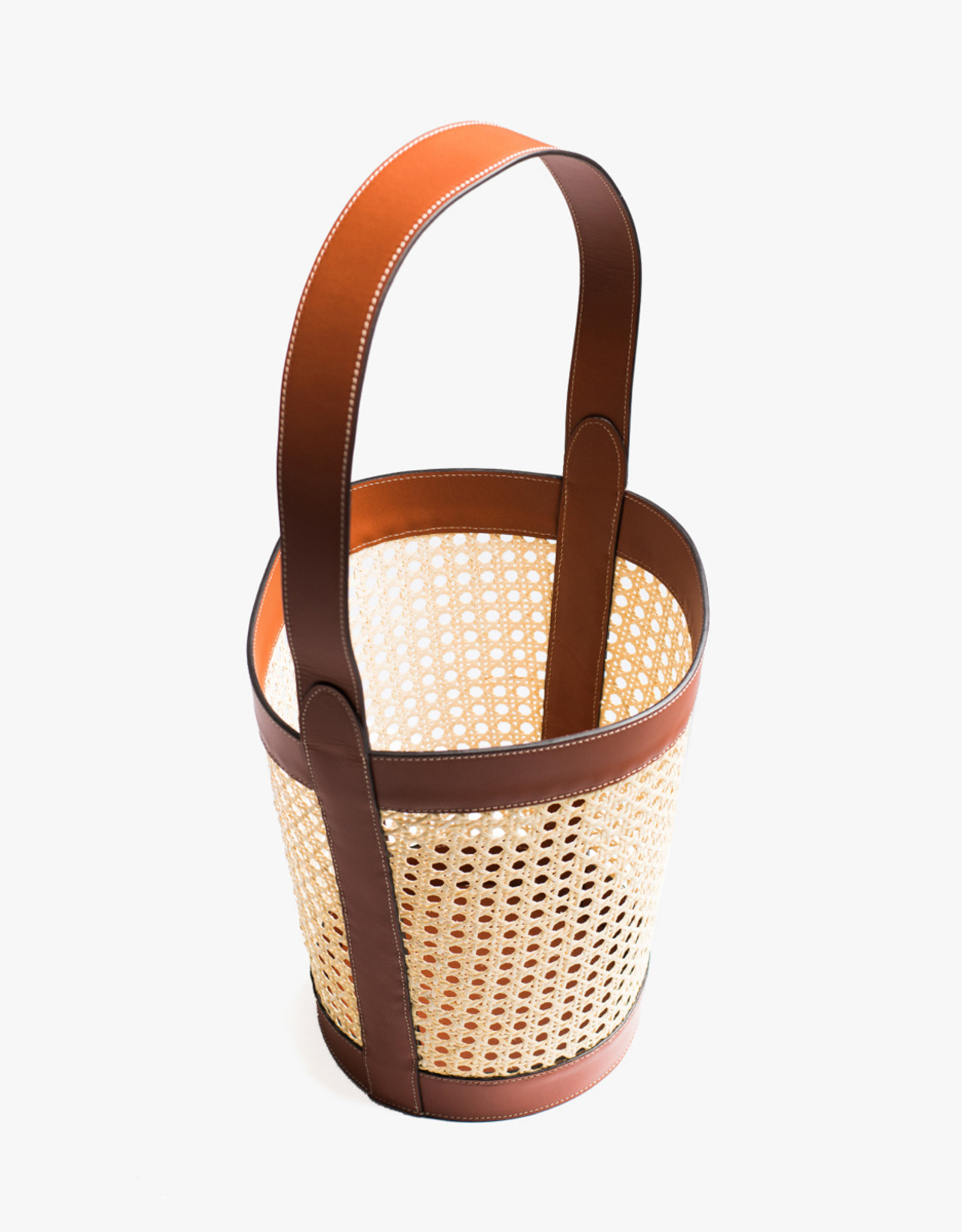Rattan Bucket Bag by Palmgrens | Cognac leather
