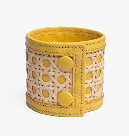 Rattan Bracelet by Palmgrens | Yellow leather