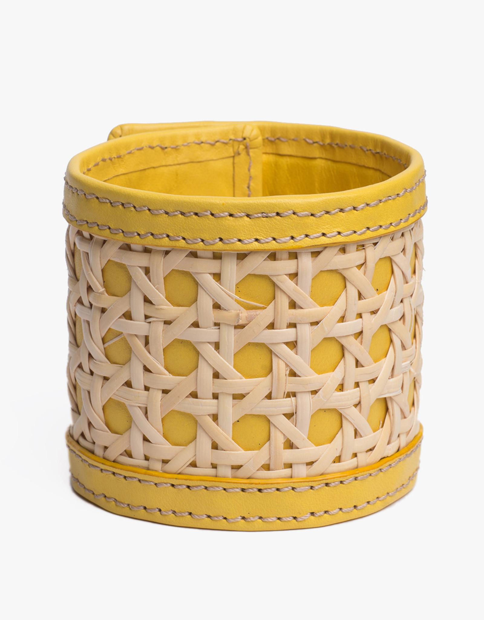 Rattan Bracelet by Palmgrens | Yellow leather