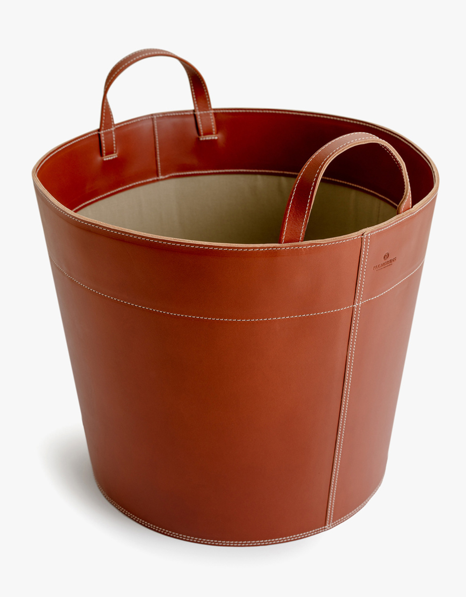 Basket with handles by Palmgrens | Cognac leather