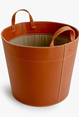 Basket with handles by Palmgrens | Tan leather