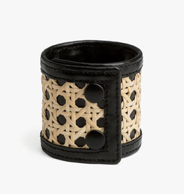 Rattan Bracelet by Palmgrens | Black leather