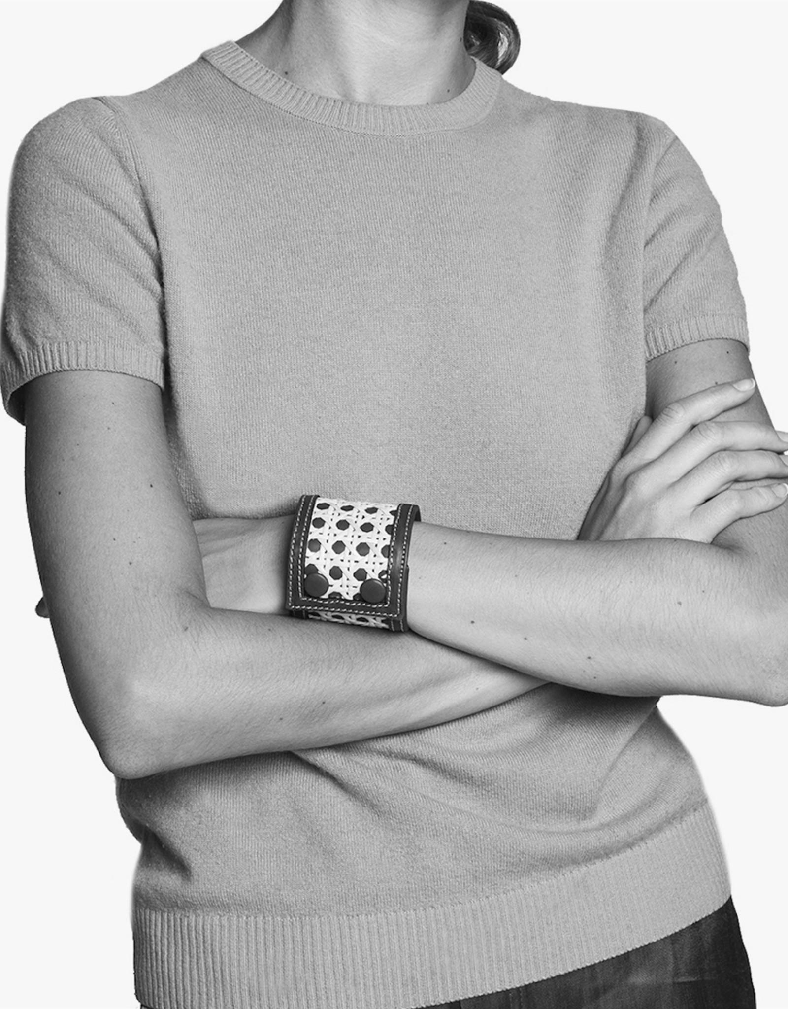 Rattan Bracelet by Palmgrens | Grey leather