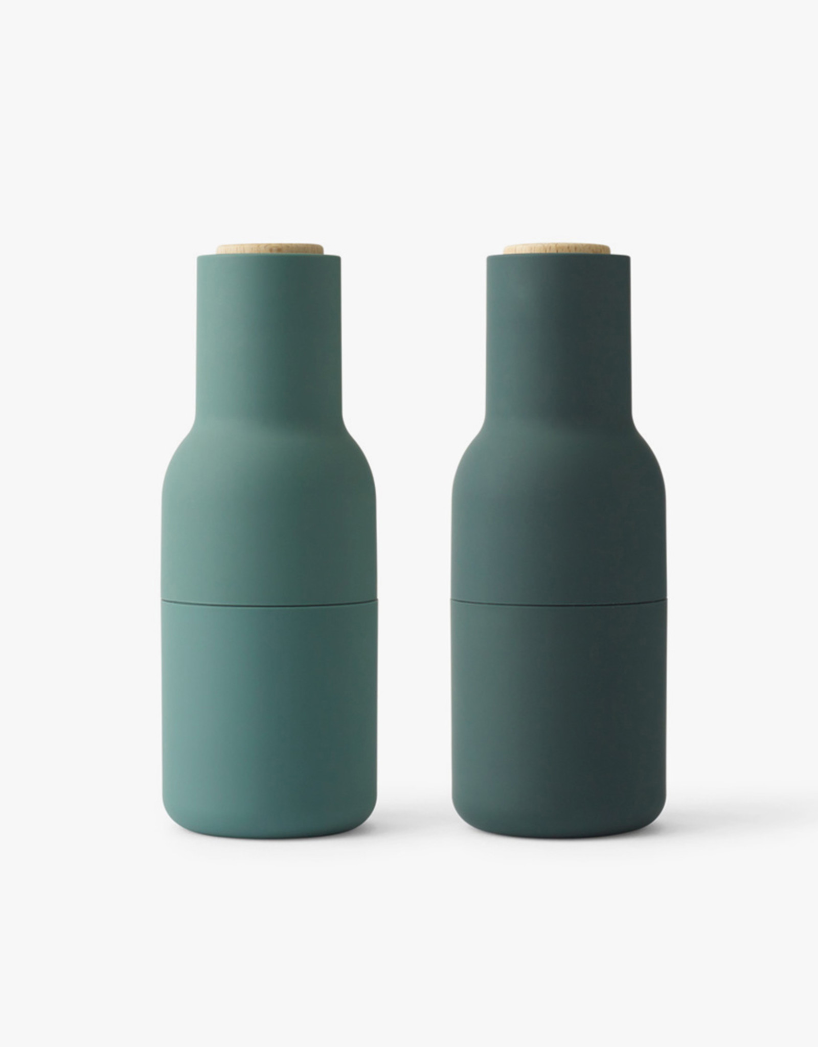 Bottle Grinders set by Norm Architects | Dark green | Beech lid