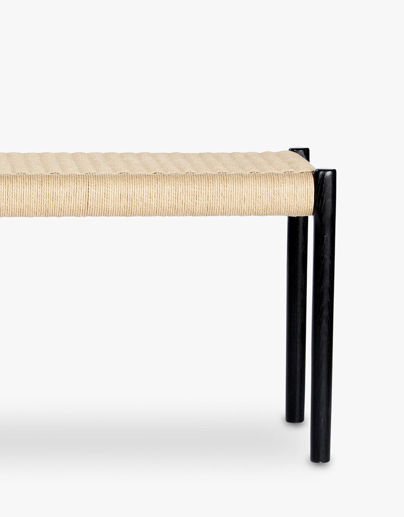 Møller 63 bench by N.O. Møller | Natural cord | Black stained oak frame | L1500mm x W400mm x H460mm