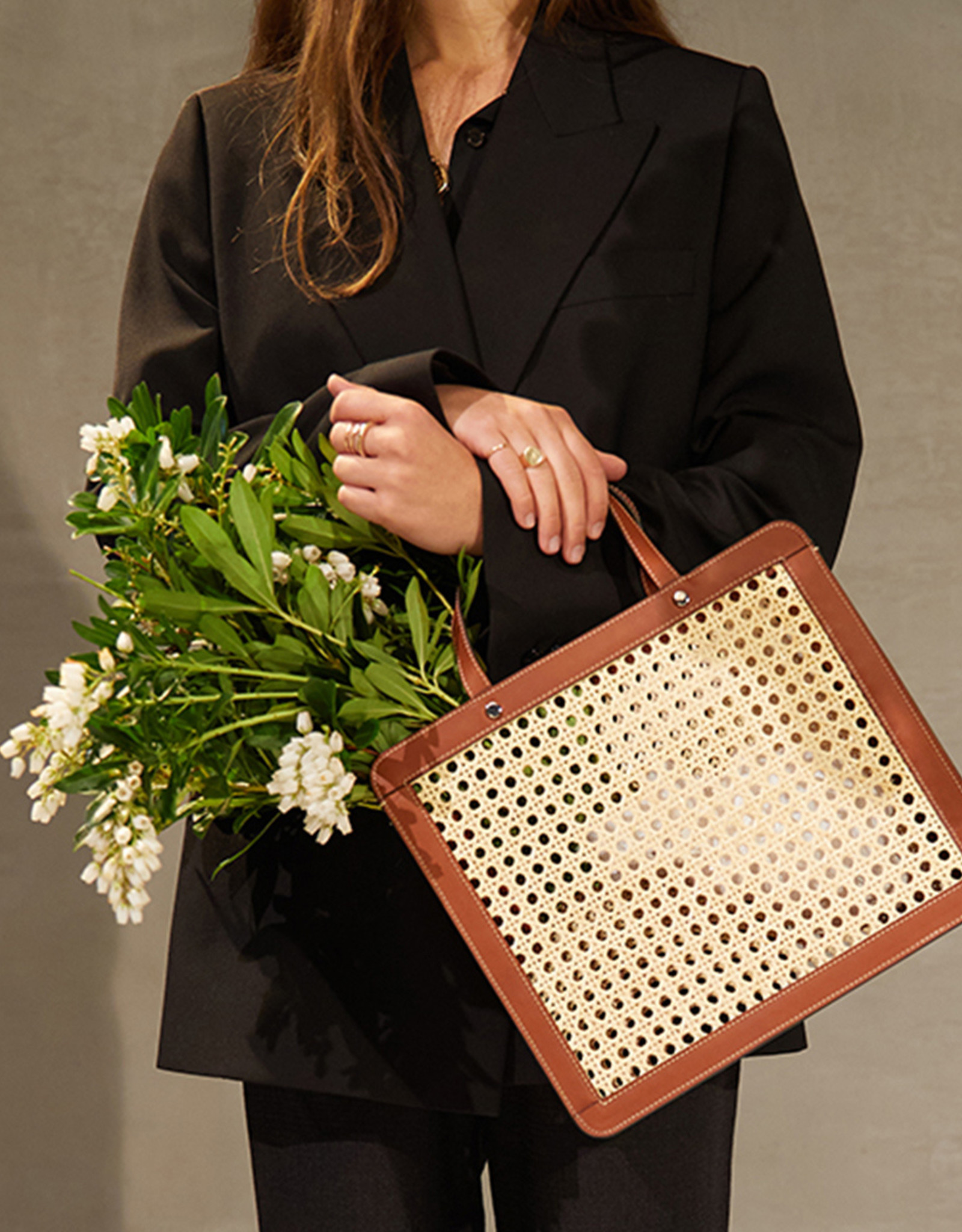 Classic Rattan Bag by Palmgrens   Tan leather