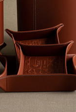Large Embossed Tray by  Carl Cavallius for Palmgrens | Cognac leather
