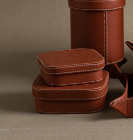 Medium Leather Embossed Box by Carl Cavallius for Palmgrens | Cognac leather