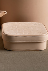 Medium Leather Embossed Box by Carl Cavallius for Palmgrens | Natural leather