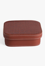 Small Leather Embossed Box by Carl Cavallius for Palmgrens | Cognac leather