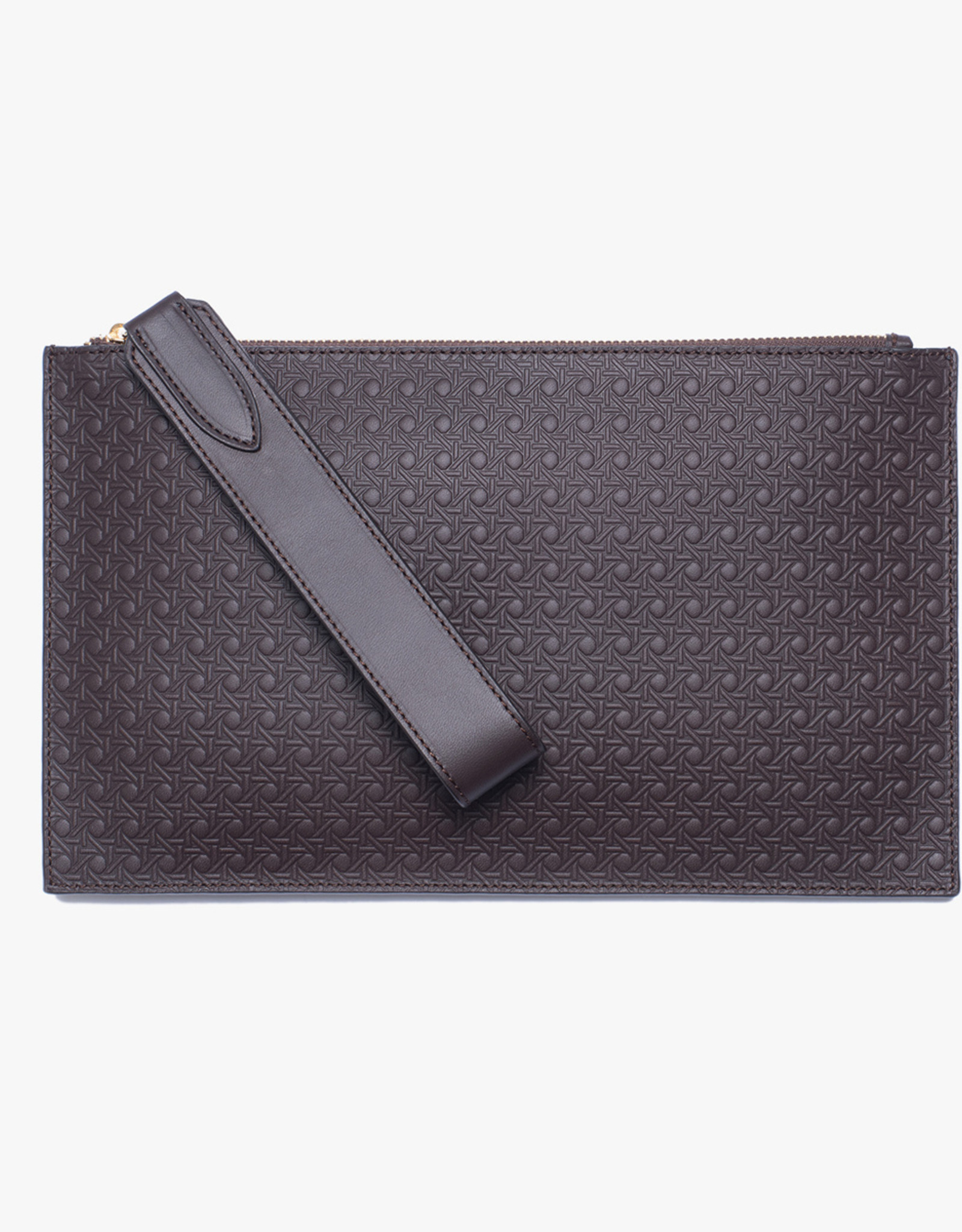 Flat Clutch Rattan Embossed by Palmgrens | Dark brown leather