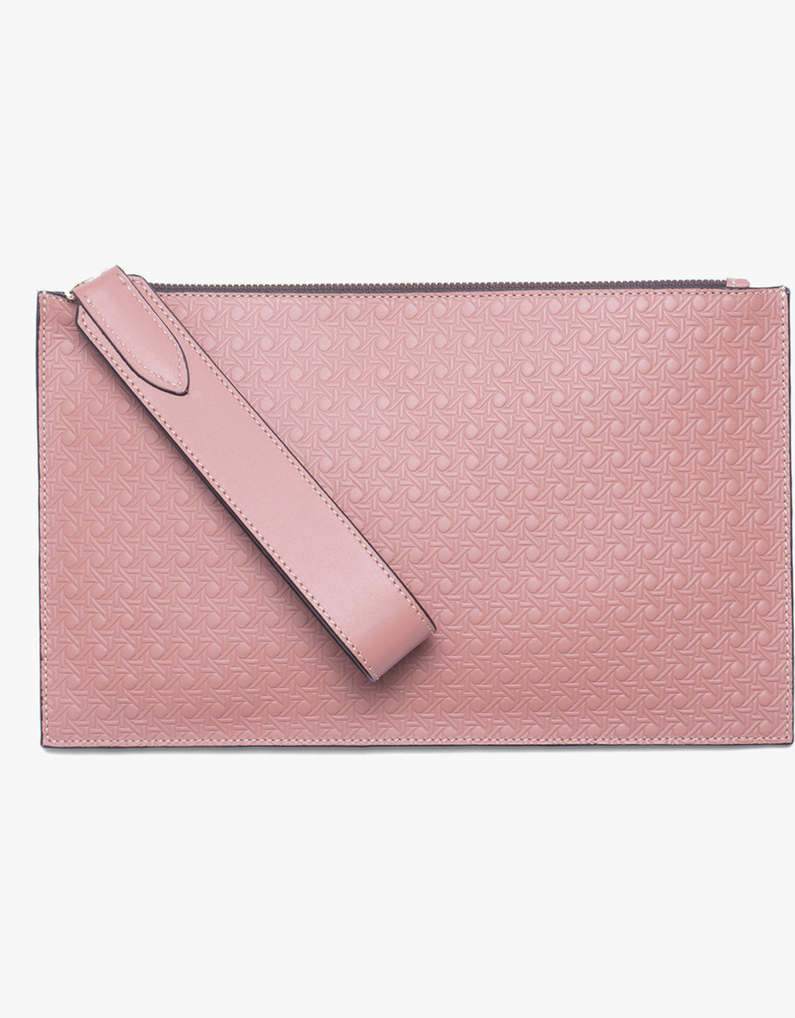 Flat Clutch Rattan Embossed by Palmgrens | Mauve leather