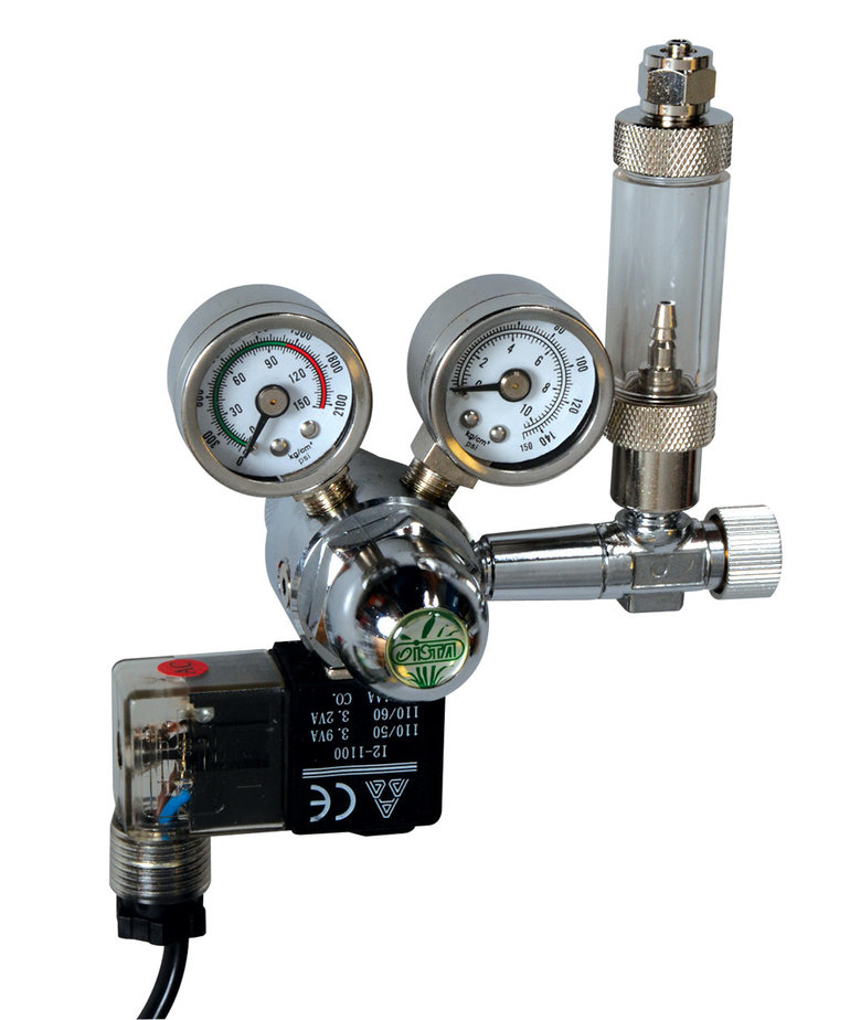 ISTA CO2 Controller with Solenoid, + Bubble Counter & Check Valve