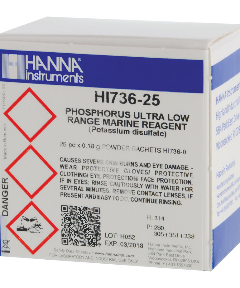 HANNA Phosphorus Ultra Low Range Reagent Set for HI 736-25 Checker HC - 25 Tests