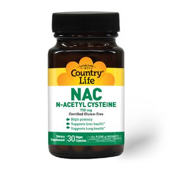 COUNTRY LIFE N-acetyl Cysteine 750mg 30 Vegan Capsules