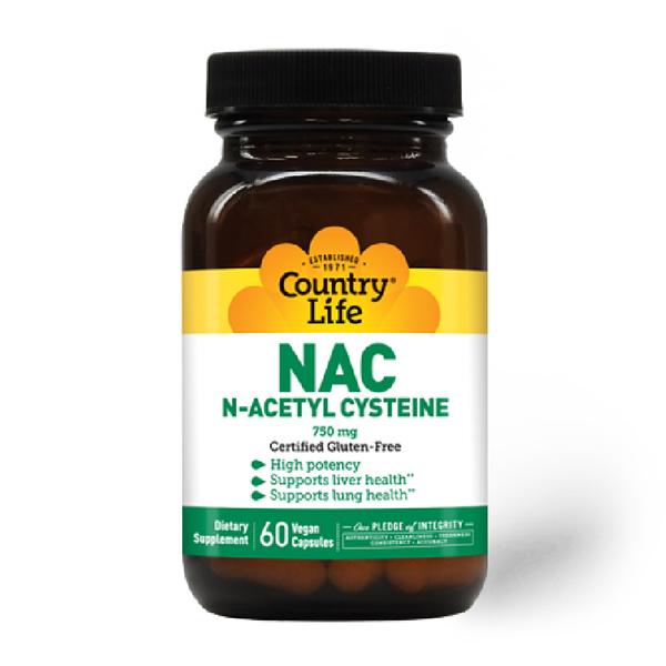 COUNTRY LIFE N - ACETYL CYSTEINE 750 Mg 60 Vegan Capsules